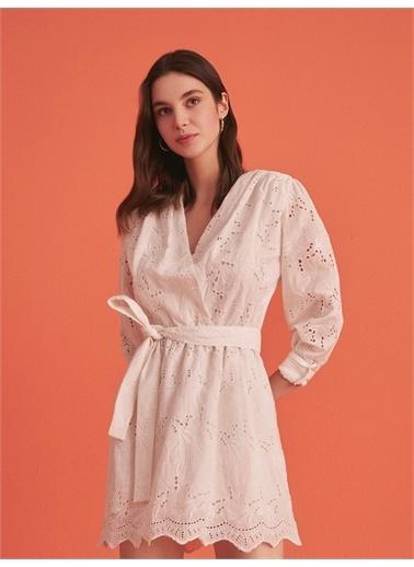 Nocturne Kruvaze Brode Mini Elbise Beyaz